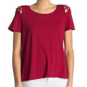 Michael Stars Crew Neck Cutout T-Shirt Ruby OS